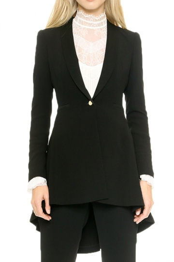 Black Modern Womens Ruffle Shrug Plain Tail Coat