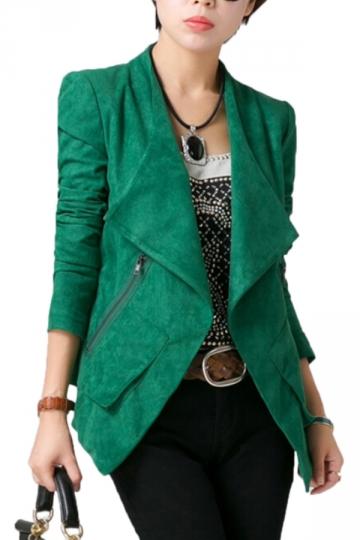 Green Stylish Womens Plain Turndown Collar Suede Coat Blazer ...