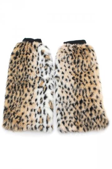 Khaki Sexy Ladies Yellow and White Leopard Fur Leg Warmers