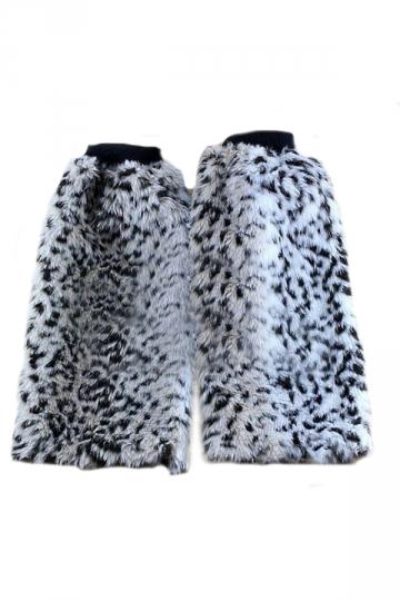 Gray Elegant Womens Leopard Leg Warmers