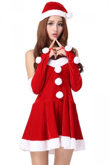 Red Elegant Womens Tube Dress Pleuche Christmas Santa Costume