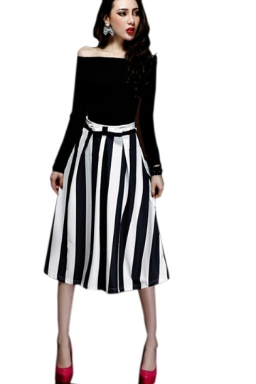 Black Sexy Women Black And White Stripe Skirt Suit - PINK QUEEN