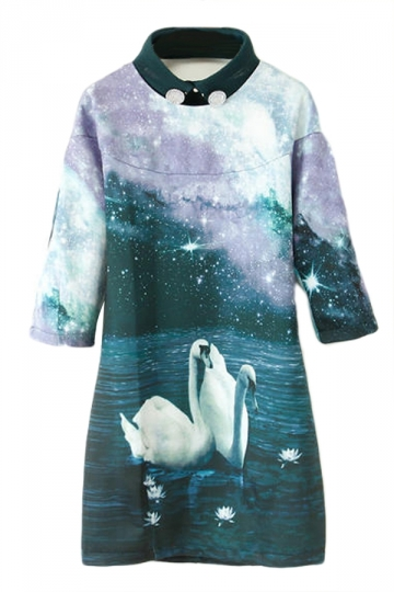 Turquoise Ladies Charming Galaxy Swan Printed Shift Dress