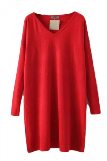 Red Womens Casual V-neck Long Sleeve Cotton Pure Dress