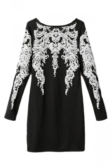 Black Retro Ladies Embroidery Printed Long Sleeve Shift Dress