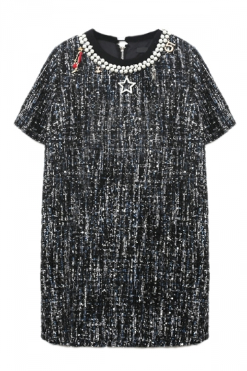 Black Ladies Chic Pearl Necklace Decorated Shift Dress