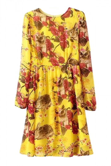 Yellow Retro Womens Floral Printed Long Sleeves Chiffon Dress
