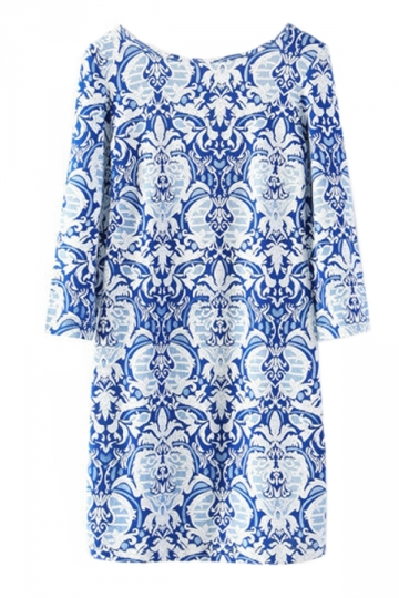 Blue Ladies Long Sleeve Chic Porcelain Printed Backless Dress