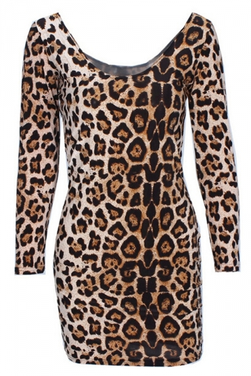 Brown Fashion Womens Leopard Printed Long Sleeve Bodycon Dress