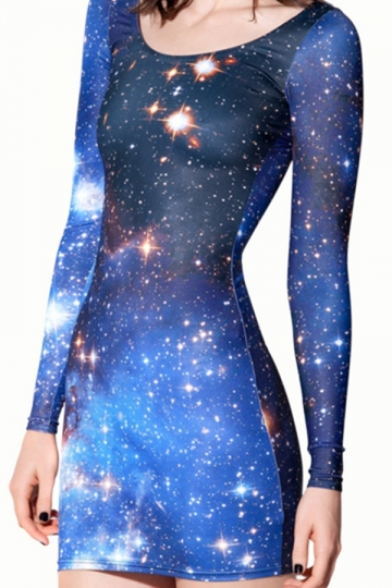 Blue Chic Womens Galaxy Star Printed Long Sleeve Bodycon Dress