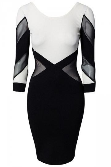 Black Sexy Ladies Backless Mesh Patchwork Elegant Bodycon Dress