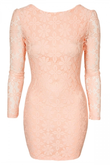 Pink Sexy Ladies Lace Backless Fancy Classic Long Sleeve Dress