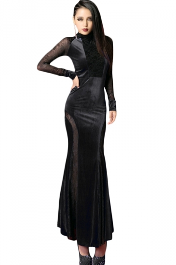 Black Elegant Womens Lace Long Sleeve Pleuche Evening Maxi Dress