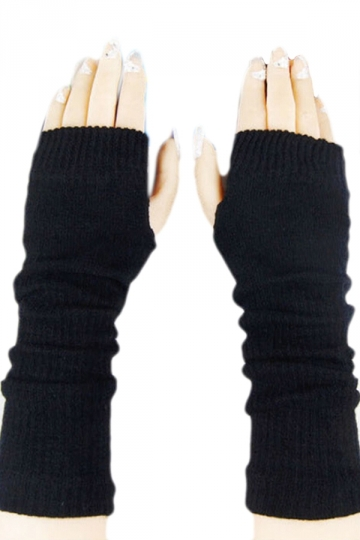 Black Ladies Cute Fingerless Winter Classic Warm Gloves