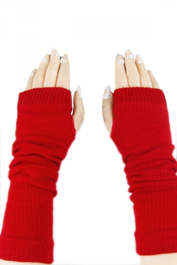 Red Ladies Cute Fingerless Winter Classic Warm Gloves
