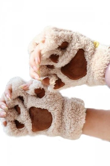 Beige Cute Womens Capped Cat Paw Cut off Winter Gloves