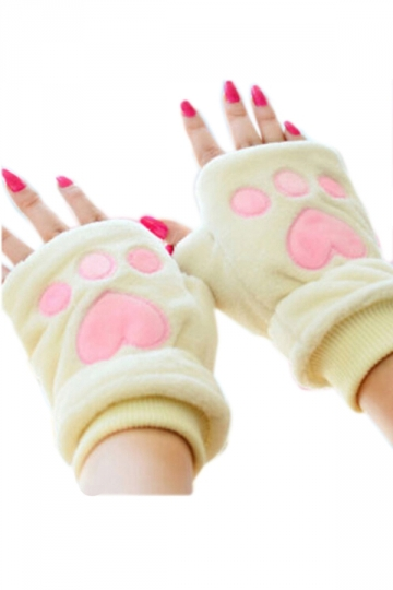 Beige Cute Womens Capped Bear Paw Flannel Winter Gloves