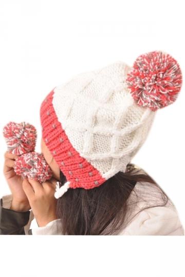 White Lovely Womens Warm Woolen Yarn Earflap Winter Knitted Hat