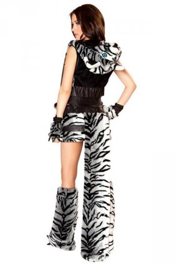 Black Cool Ladies Halloween Tiger Grain Cosplay Leopard Costume