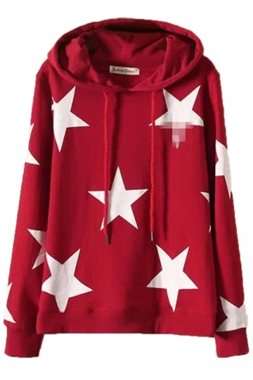 Red Stylish Womens Star Pullover Cotton Printed Hoody