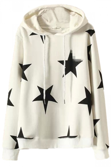 White Stylish Womens Star Pullover Cotton Printed Hoody