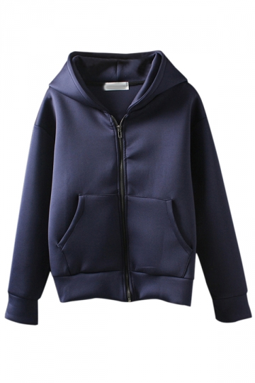 Navy Blue Womens Cute Zipper Hoodie Long Sleeves Coat
