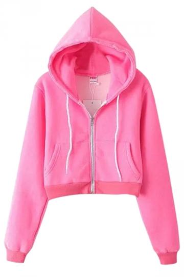 Pink Casual Ladies Long Sleeves Classic Zipper Plain Hoodie