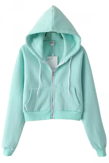 Turquoise Casual Ladies Long Sleeves Classic Zipper Plain Hoodie