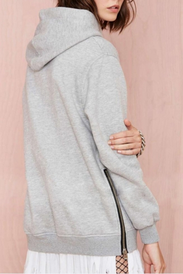 Gray Womens Pullover Zipper Loose Long Sleeves Cool Plain Hoodie