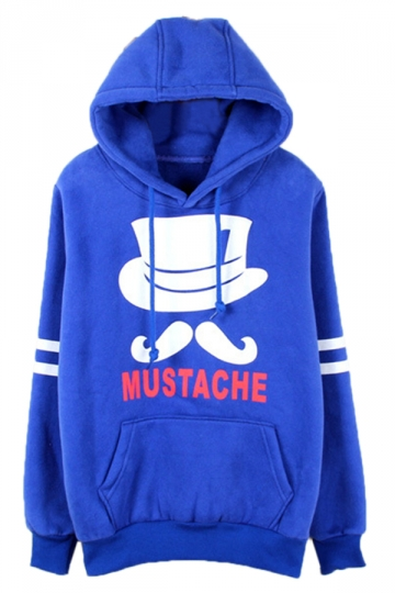 Blue Chic Womens Mustache Pullover Cotton Printed Hoody