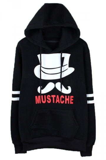 Black Chic Womens Mustache Pullover Cotton Printed Hoody