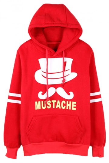 Red Chic Womens Mustache Pullover Cotton Printed Hoody