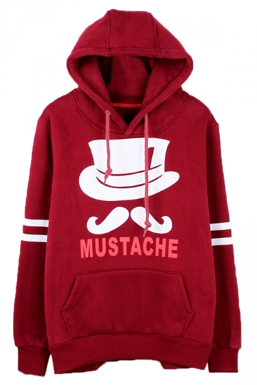 Ruby Chic Womens Mustache Pullover Cotton Printed Hoody
