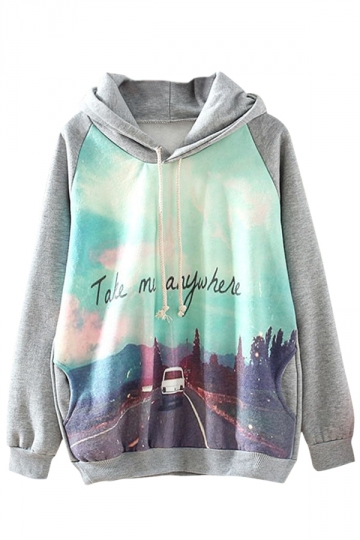 Gray Modern Womens Road Pullover Long Sleeve Printed Hoody
