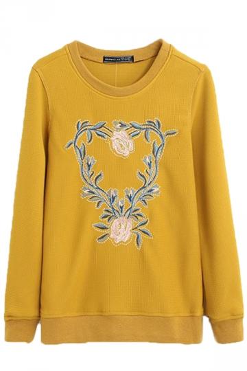 Yellow Long Sleeves Pullover Womens Flowers Printed Slim Sweatshirt