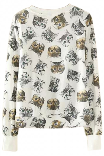White Womens Vintage Cats Printed Loose Crew Neck Sweatshirt
