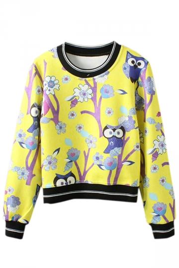 Yellow Cute Womens Owl Tree Pullover Printed Sweatshirt