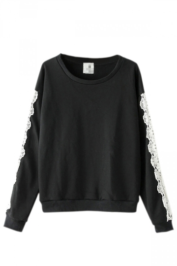 Black Pretty Ladies Lace Pullover Crew Neck Plain Sweatshirt