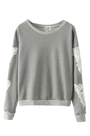 Gray Stylish Womens Lace Crew Neck Pullover Plain Sweatshirt