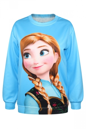Pretty Ladies Frozen Anna Pullover Crew Neck Printed Sweatshirt