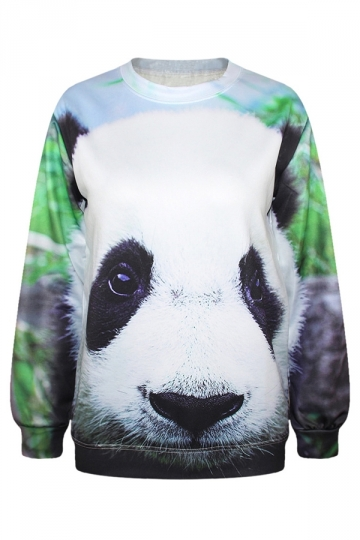 Womens Panda Long Sleeve Pullover Crew Neck Printed Sweatshirt