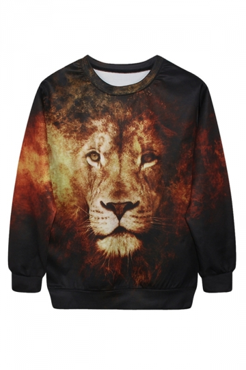 Coffee Womens Fire Lion Printed Pullover Crew Neck Sweatshirt
