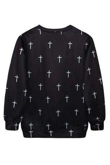 Ladies Crew Neck Alice in Wonderland Printed Pullover Sweatshirt