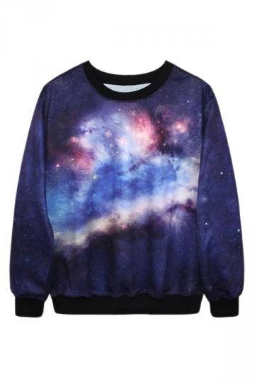 Navy Blue Ladies Fashion Galaxy Printed Pullover Sweatshirt