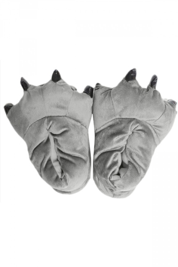 Gray Stylish Ladies Dinosaur Claw Coral Fleece Warm Cotton Slippers
