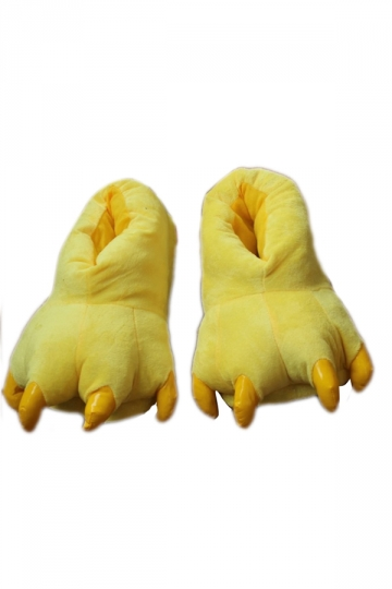Yellow Stylish Ladies Dinosaur Claw Coral Fleece Warm Cotton Slippers