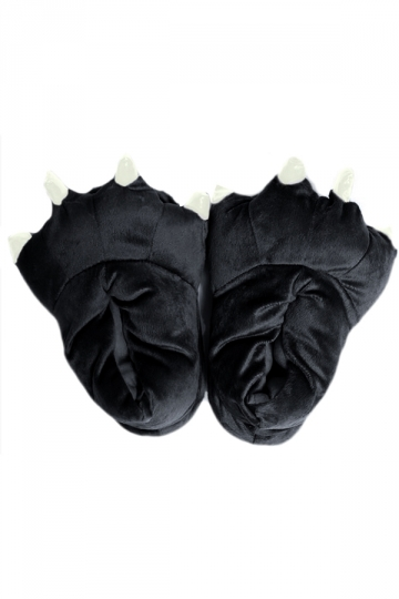 Black Cool Womens Dinosaur Stitch Claw Coral Fleece Cotton Slippers
