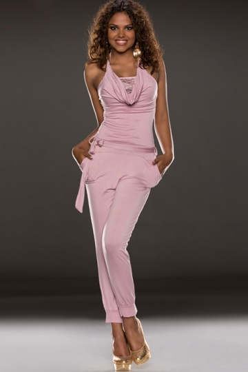 Pink Womens Sexy Halter Strapless Sheer Lace Jumpsuit - PINK QUEEN