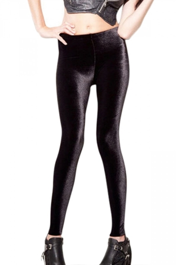 Black Slimming Ladies High Waist Pure Velvet Leggings