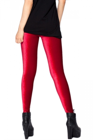Red Slimming Ladies High Waist Pure Velvet Leggings